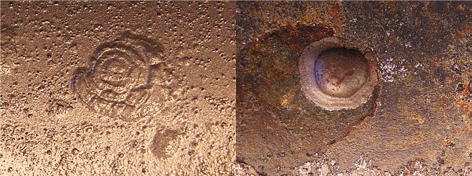 Microbiologically Influenced Corrosion (MIC) Pit (left) vs. Oxygen Corrosion Pit (right)