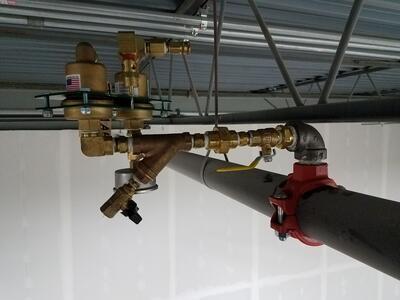 ECS PAV-W Automatic Air Vent installed on fire sprinkler pipe