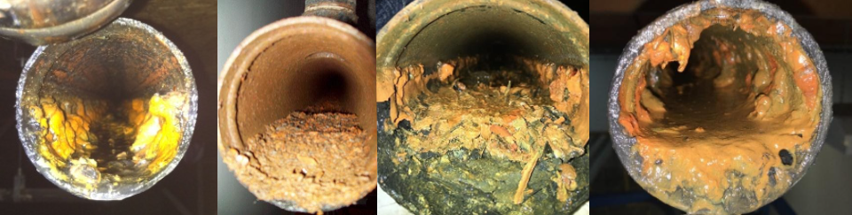 Four different pipes with extensive corrosion and blockage